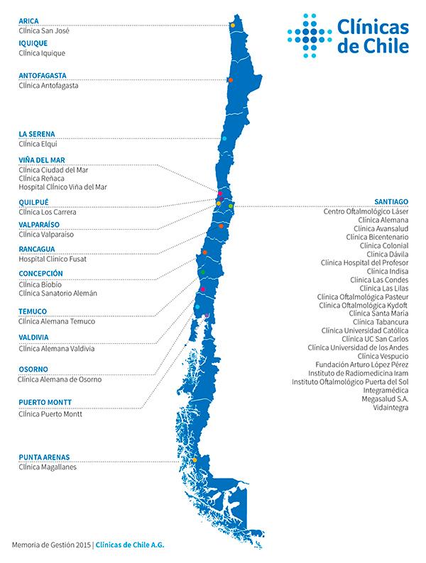 Clínicas de Chile Mapa